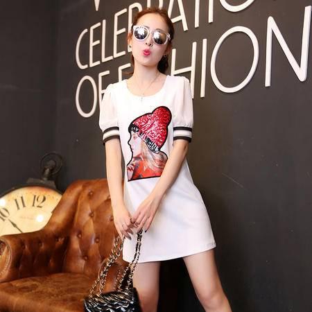 MSSEFN新款韩版时尚印花亮片中长款短袖夏季女装连衣裙