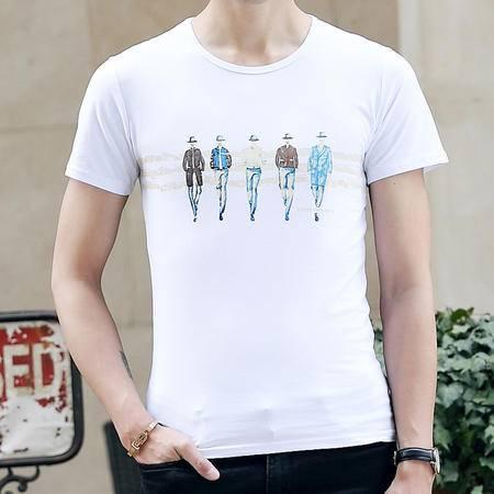 MSSEFN夏季新款韩版修身小人印花短袖T恤男简约短袖