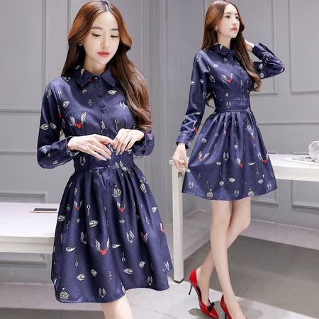 MSSEFN春秋季新款韩版女装欧洲站春装中长款印花蓬蓬长袖连衣裙修身