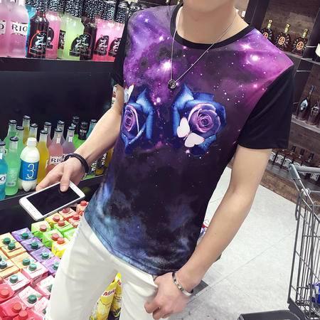 MSSEFN夏季短袖T恤男韩版修身半袖印花圆领t血桖男装体恤上衣服