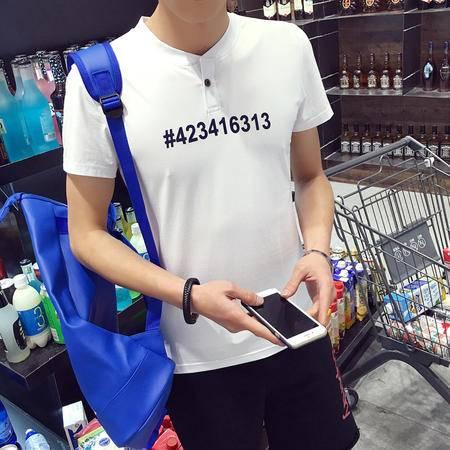 MSSEFN夏季男士短袖t恤V领纯棉半袖体恤青年上衣修身打底衫潮男