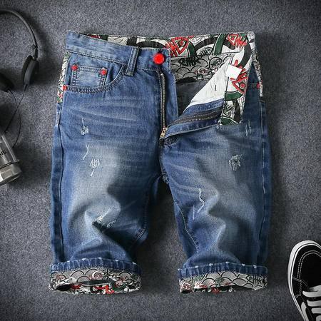 MSSEFN大码高品质嘻哈日子牛仔中裤五分裤时尚潮流