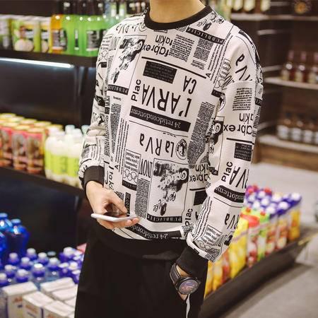 MSSEFN春夏装新款韩版修身圆领时尚长袖印花T恤