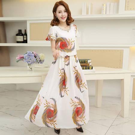 MSSEFN夏季新款女装A字裙清凉优雅时尚印花图案连衣裙女