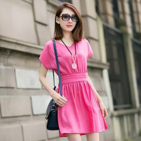 MSSEFN夏季女装新款修身显瘦女式中长款圆领短袖连衣裙