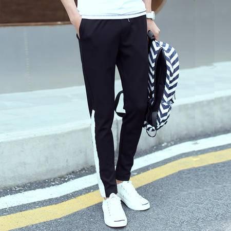 MSSEFN运动男式休闲裤 大白条罗文镶嵌 修身男裤长裤