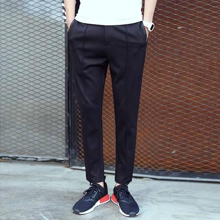 MSSEFN镶条装饰男士哈伦裤 中间折线男式休闲裤长裤