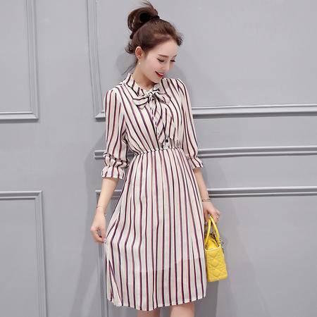 MSSEFN春季女装新款简约时尚百搭条纹七分袖修身连衣裙