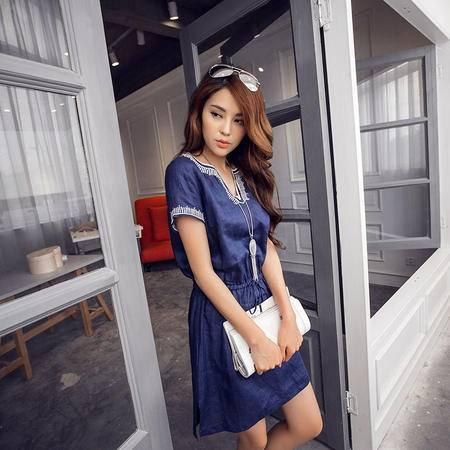 MSSEFN夏季新款韩版学院小香风短袖牛仔修身连衣裙女