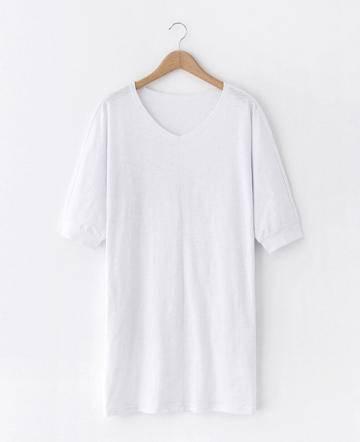 MSSEFN夏季新款韩版简约纯色V领女士长款短袖T恤