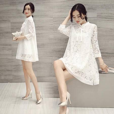 MSSEFN夏季韩版修身气质简约蕾丝连衣裙勾花镂空A字短裙
