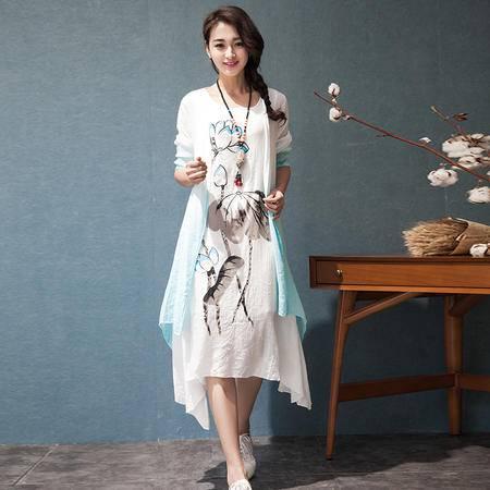 MSSEFN中国风长袖棉麻连衣裙长裙两件套宽松大码亚麻裙套
