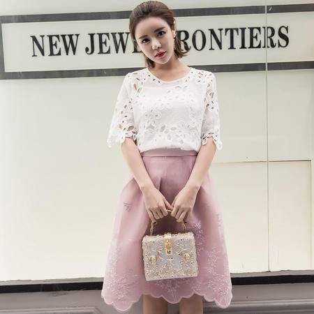 MSSEFN夏季韩版新品淑女气质短袖蕾丝衫刺绣半身裙两件套