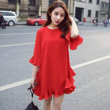 MSSEFN夏季韩版新款喇叭袖修身显瘦连衣裙女