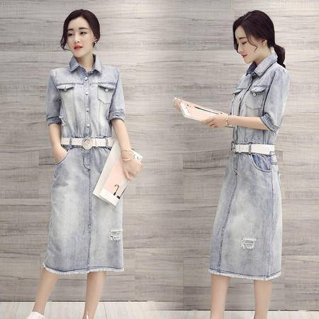 MSSEFN夏季韩版新款短袖修身牛仔裙学院风牛仔连衣裙女