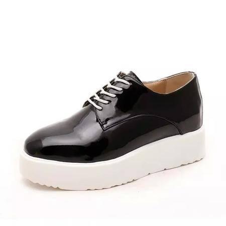 MSSEFN 内增高1CM 亮皮 糖果色 小皮鞋 女单鞋