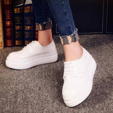 MSSEFN 亮皮 漆皮 厚底 系带浅口 女单鞋
