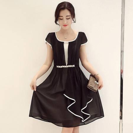 MSSEFN夏装新款女装中长裙韩版时尚修身淑女连衣裙