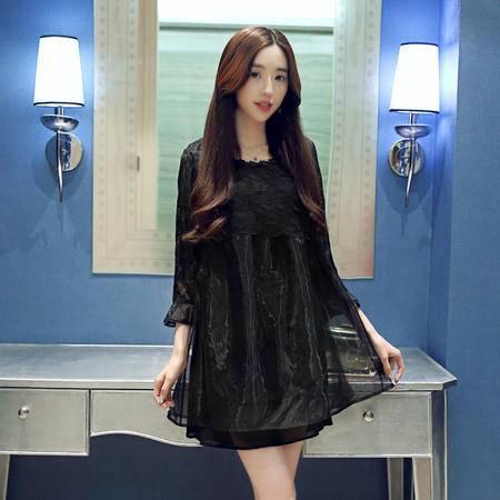 MSSEFN春季女装新款时尚花边圆领气质甜美欧根纱拼接连衣裙
