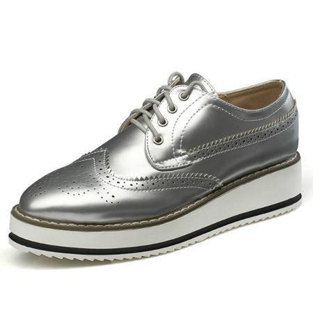 MSSEFN松糕鞋 雕花 厚底 复古 女单鞋 小皮鞋