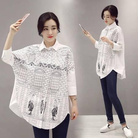 MSSEFN夏季韩版新款学院风刺绣衬衫女宽松大码蝙蝠袖衬衣