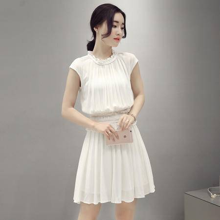 MSSEFN夏季棉麻收腰显瘦休闲时尚连衣裙气质OL短裙