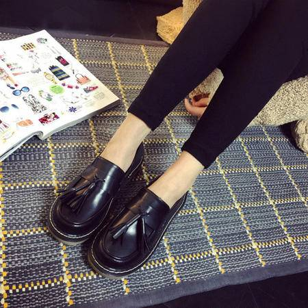 MSSEFN 流苏   小皮鞋 平跟平底 女鞋