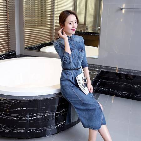 MSSEFN春季女装新款简约翻领韩版优雅修身休闲牛仔连衣裙