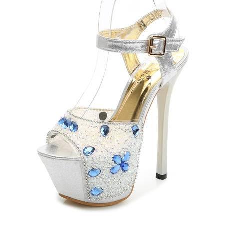 MSSEFN 超高跟16CM  嚷钻 模特 婚鞋 女士凉鞋