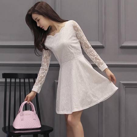 MSSEFN春季女装新款时尚圆领韩版气质淑女修身蕾丝连衣裙