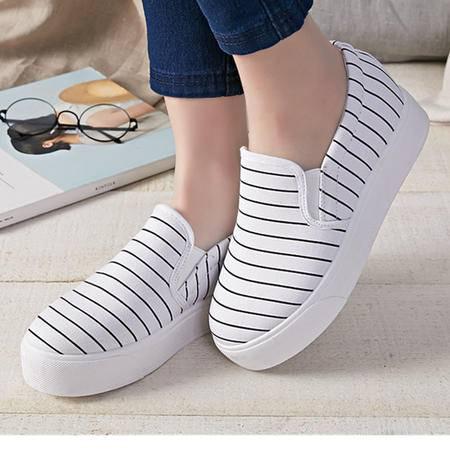 MSSEFN 内增高2.5 厚底3.5  帆布女鞋