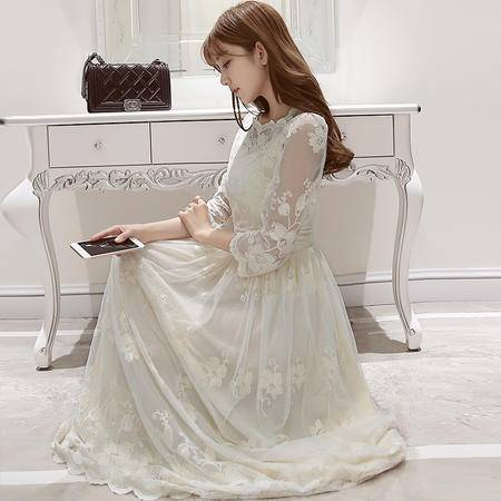 MSSEFN春季女装新款简韩版气质优雅蕾丝绣花唯美连衣裙