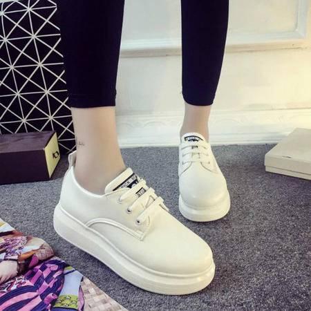 MSSEFN 平底 系带 板鞋 女生 小白鞋 单鞋