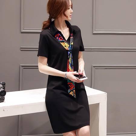 MSSEFN夏季新款女装韩版时尚带丝巾连衣裙罗马针织中长款