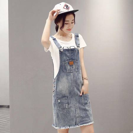 MSSEFN夏装新款韩版时尚休闲学院风白T配牛仔裙两件套