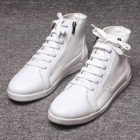MSSEFN钱塘潮流男士高帮鞋韩版休闲时尚白色银色皮鞋