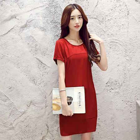 MSSEFN新款复古棉麻裙夏季韩版修身短袖连衣裙女