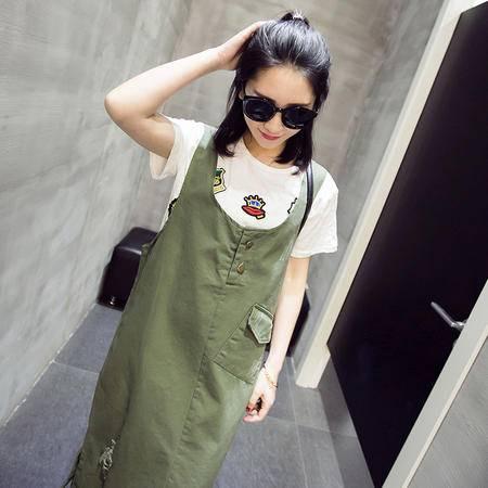 MSSEFN夏 韩时尚清新口袋拼接破洞军绿色中长款修身背带连衣裙