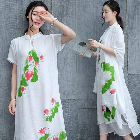 MSSEFN夏季文艺女装质朴休闲棉麻连衣裙两件套仙