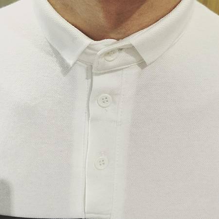 MSSEFN夏装新款 港风胸口条纹短袖翻领T恤微领T恤