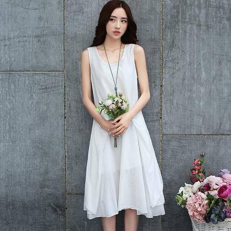 MSSEFN夏季文艺女装学院风气质纯白棉麻连衣裙仙