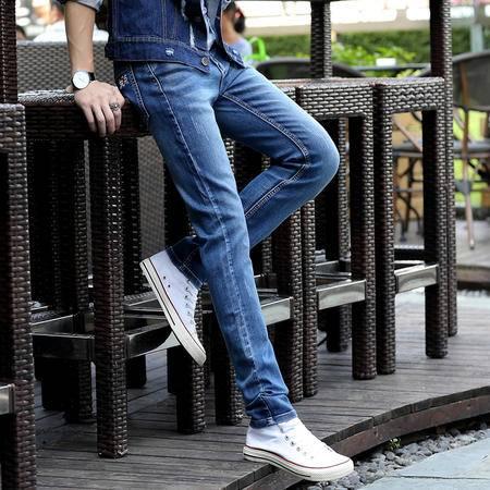 MSSEFN夏季牛仔裤男 新款男修身水洗小脚裤 牛仔裤长裤潮