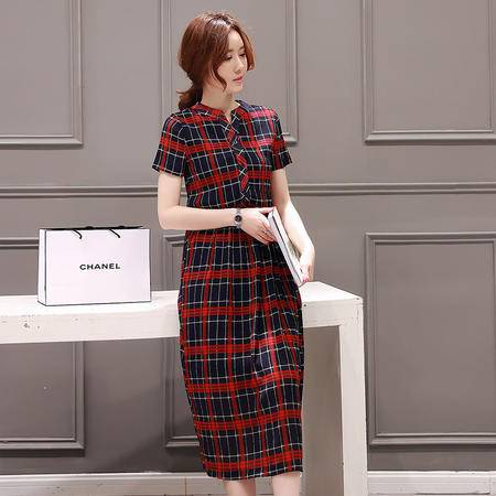 MSSEFN夏季新款女装韩版显瘦格子条纹连衣裙雪纺压皱中长裙