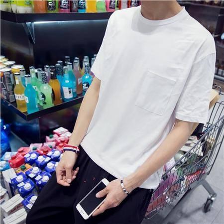 MSSEFN夏装新款男士韩版潮宽松型短袖T恤 纯色T恤小衫 侧边拉链设计