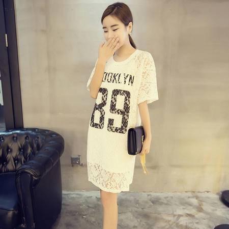 MSSEFN夏季中长款蕾丝衫韩版女装新款短袖蕾丝T恤