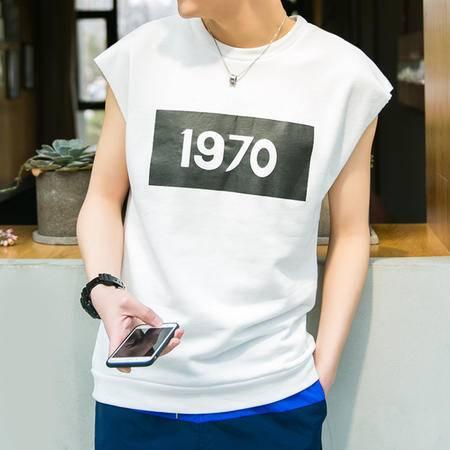 MSSEFN夏季无袖短袖T恤男运动印花体恤韩版圆领背心潮