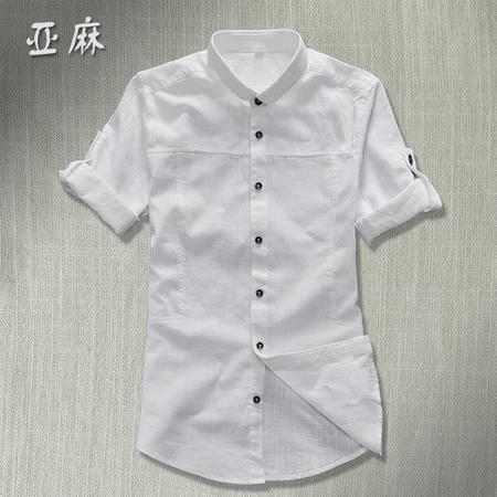 MSSEFN新款修身亚麻中袖衬衫 男士青年夏季纯色五分袖衬衣