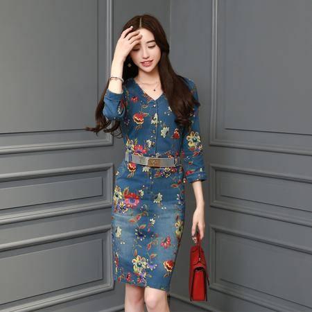 MSSEFN春季女装新款性感V领优雅时尚印花牛仔连衣裙配腰带