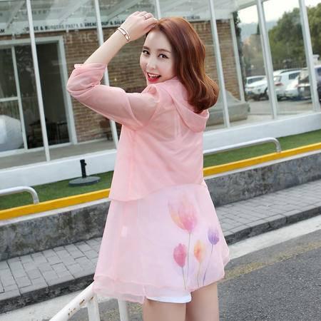 MSSEFN夏季新款女装韩版显瘦防晒外套透气轻薄连帽防晒衣