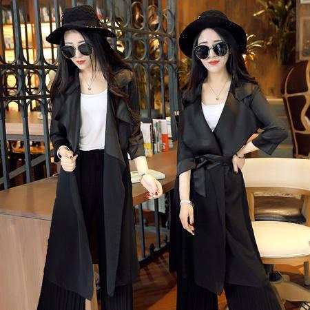 MSSEFN新款时尚防晒女罩衫束腰拼薄雪纺半袖中长款外套
